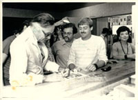 Stan Lee Signs At Heroes Circa 1984--note Peter David between Stan and Shelton!